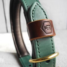 Luxury Dog Collars-- Monogram Two Tone Luxury Padded Leather Dog Collar Green