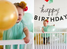 a crib shot would be adorable.  birthday dress and fill crib with peach, turquoise and ivory balloons.