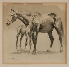 Brunk Auctions - Mare and Colt, Frederic Remington kK Frederic Remington, Hee Haw, West Art, Vintage Horse, Equine Art, Horse Art, Horse Stuff, Elementary Art, Animal Paintings