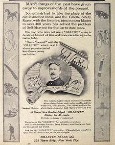 1907 Gillette Safety Razor Ad ~ Things of the Past