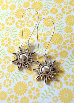 Boho silver sun earrings
