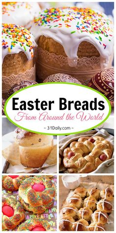 7 favorite easter bread recipes from around the world italian easter bread rolls homemade easter rolls twisted rolls homemade bread rolls easter dinner idea easter recipe spring via tastesoflizzyt Mini Desserts, Easy Desserts, Dessert Recipes, Easter Dinner Recipes, Easter Brunch, Holiday Recipes, Easter Dinner Ideas, Oreo Dessert, Pavlova