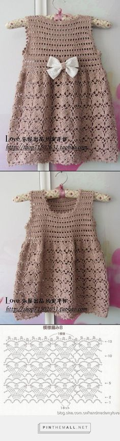 Crochet lace dress for little girl; Bow is worn on the back. Chart available for the skirt only