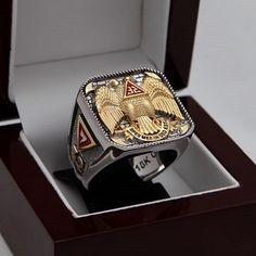 Unique Heavy Masonic Knight Templar Ring 18K 2 tone Gold Plated Freemasonry hand made 40 grams