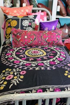 Beautiful Bohemian Bed Cover and pillows.