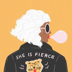 "Greeting Card Designer on Instagram: ""Day 1: Leather jacket, curly hair and sunglasses 😎 #funwithfaces Swipe for the prompt list 👉 I'm already seeing some amazing portraits for…"""
