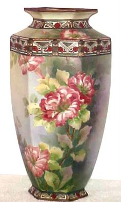 "Antique Hand Painted Nippon Old Noritake Floral Vase 14"" Tall 