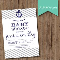 Nautical Baby Shower Invitation Anchor Baby by LaLunaDesigns, $16.00