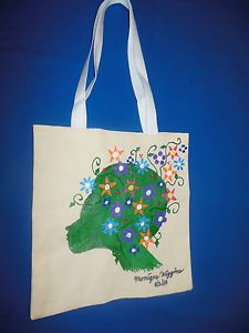"""Hand-painted Tote Bag """"Flower Fro, Green"""""""