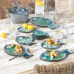 I am loving on these fish plates!