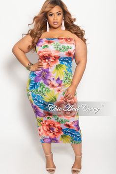 1d59ed9cee6 Plus Size Tube Dress in Multi Color Floral Print – Chic And Curvy
