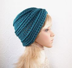 Hand crocheted hat beanie - antique teal - accessories Winter Fashion by Sandy Coastal Designs on Etsy, $30.00