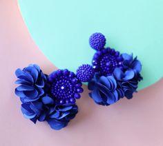 Royal Blue Beaded Flower Tassel Earrings - Lux Store DR