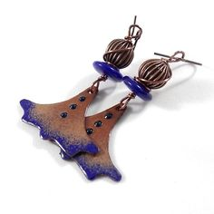 Brown Blue and Copper Enameled Earrings Copper by CinLynnBoutique