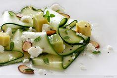 Zucchini, Avacado, Feta & Almond salad with fresh thyme and lemon vinaigrette.