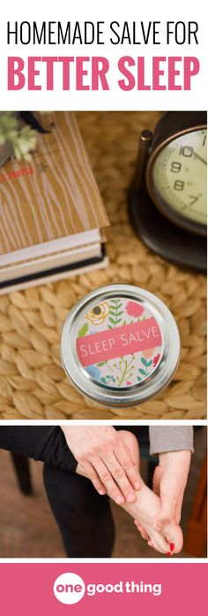Learn how to make an all-natural Sleep Salve that will help you fall asleep and stay asleep. It's easy to make and apply, and it can also help soften dry, cracked feet! Smoother feet and better sleep? Sign me up!