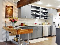 Wood Beam Kitchen Ceiling - Design photos, ideas and inspiration. Amazing gallery of interior design and decorating ideas of Wood Beam Kitchen Ceiling in dining rooms, kitchens, entrances/foyers by elite interior designers. Kitchen Wall Units, Grey Kitchen Cabinets, Painting Kitchen Cabinets, Kitchen Flooring, Shaker Cabinets, Dark Cabinets, Grey Cupboards, Painted Cupboards, Kitchen Walls