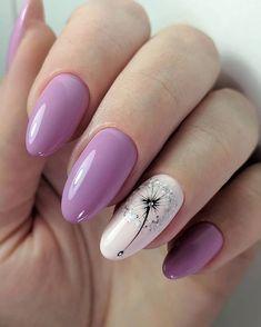 Pink Nail Art, Purple Nails, Floral Nail Art, Best Acrylic Nails, Acrylic Nail Designs, Stylish Nails, Trendy Nails, Oval Nails, Luxury Nails