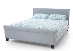 Brand new styled super kingsize bed frame in a gorgeous contemporary fabric ice blue fabric.In Stock For FREE Express Delivery.