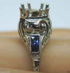 Antique Engagement Ring Setting Mounting Mount 18K Hold 6.5-7MM SZ-8.25 UK-Q