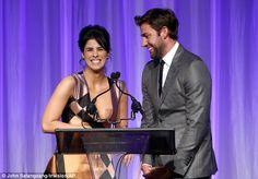 44 Hilarity: Sarah and John Krasinski shared a laugh on stage at the podium...