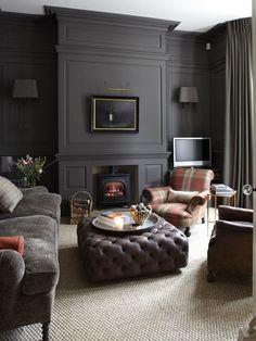 Dark Living Rooms, Home And Living, Living Spaces, Dark Rooms, Cozy Living, Masculine Living Rooms, Small Living, Home Design, Interior Design