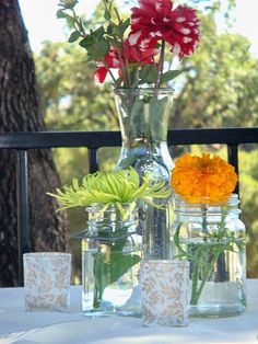 simple centerpieces using mason jars and carafes Simple Centerpieces, Flower Centerpieces, Wedding Centerpieces, Wine Carafe, Mason Jar Vases, Church Decorations, Friend Wedding, Charity, Sydney