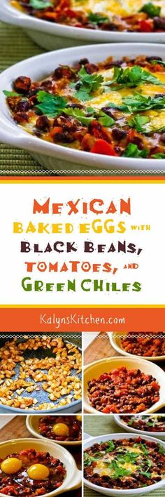 Mexican Baked Eggs with Black Beans, Tomatoes, Green Chiles, and Cilantro are a delicious breakfast that's South Beach Diet friendly and vegetarian. For lowest carbs, you could reduce or omit the beans.  [found on KalynsKitchen.com]