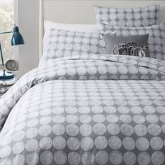They have more of these on sale now too! :)  Chalk Dottie Duvet Cover + Shams - Feather Gray | west elm