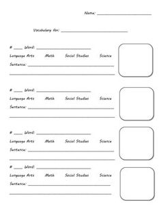Very simple vocabulary template for all ages vocabulary template pronofoot35fo Choice Image