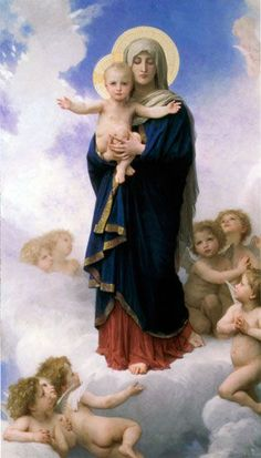 """Our lady of the angels"" by William Adolphe Bouguereau. I find this the most beautiful and tranquil image - reminding me that Jesus is always there for me; with open arms. William Adolphe Bouguereau, Blessed Mother Mary, Divine Mother, Blessed Virgin Mary, Religious Icons, Religious Art, Hail Holy Queen, Religion, Images Of Mary"
