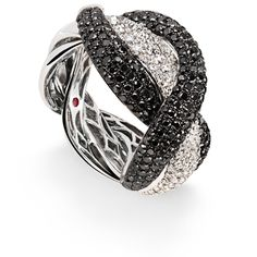 Fantasia ring in 18kt white gold with black and colourless diamonds