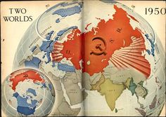 Two Worlds, published in Time Magazine, January 1950 Century) Two Worlds, Asian History, Modern History, Alternate History, Fantasy Map, Old Maps, Time Magazine, Historical Maps, Historic Posters