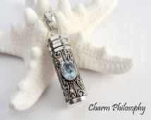 Prayer Box Necklace - Aquamarine Capsule - Hollow Tube Pendant - Keepsake Jewelry - Ashes Necklace - 925 Sterling Silver