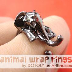 Realistic Elephant Animal Wrap Ring in SHINY Dark Silver Sizes 4 to 10 $10 #elephant #animal #ring #jewelry #animalrings #animaljewelry #gunmetal #silver #artfire