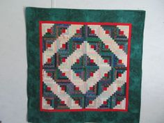 """Log Cabin Quilted Wall Hanging  32.5"""" X 32.5"""" by QuiltCraftByAmie on Etsy"""