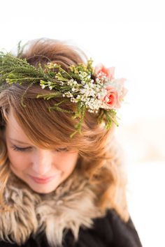 ethereal + woodsy hairpiece // photo by Emily Crall Photography hair crown bridal hair flowers halo Dirndl Outfit, Flower Crown Hairstyle, Hair Crown, Woodsy Wedding, Wedding Songs, Wedding Stuff, Floral Headpiece, Bridal Hair Pins, Floral Hair