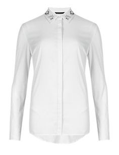 Easy to Iron Embellished Collar Shirt   M&S