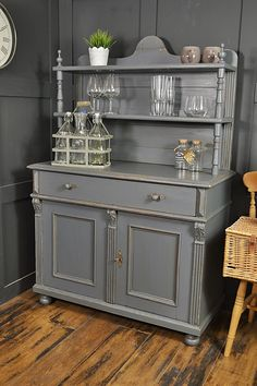 This adorable grey kitchen cupboard has been lightly distressed with the inner drawer in Farrow & Ball Oval Room Blue. The shelves sit on top of the main cupboard and are removable for easy transportation. If you're short of space, this could be the piece for you! http://www.thetreasuretrove.co.uk/kitchen-storage/grey-shabby-chic-kitchen-dresser