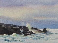Surf against a dark sky by Poppy Balser, Watercolor