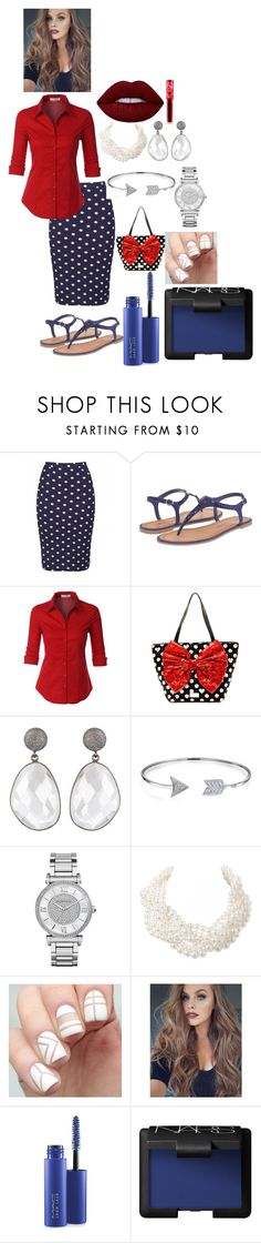 """""""Polka Dot Skirt!"""" by bananao3 ❤ liked on Polyvore featuring Chinese Laundry, LE3NO, Betsey Johnson, Bling Jewelry, Michael Kors, Humble Chic, MAC Cosmetics, NARS Cosmetics and Lime Crime"""