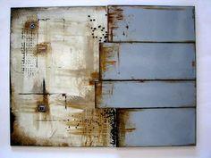 30x40cm large textured fused glass tile M Beneke