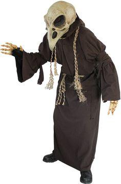 Costume scheletro avvoltoio adulto: Questo vestito per adulto da scheletro per avvoltoio è compostoun mantello con cappuccio e una cintura ( scarpe e maschera non incluse ).Il mantello con cappuccio é di color...