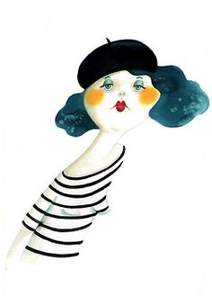 Stripes, rosy cheeks, bee-stung lips, beret...viva la cuteness!
