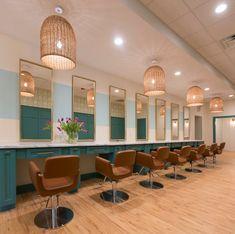 THE GLOSSARIE blow dry bar by Lauren Grant Design. #interiordesign #blowdrybar #hairsalon #salonstyle #serenaandlily #greenwoodwork