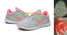 Womens Nike Free Run 3 Grey Pink Electric Green Shoes