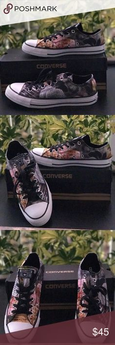 NWT Converse Digital Floral WMNS AUTHENTIC Brand new with box. Price is firm! No trades.  Canvas Rubber sole Signature Chuck Taylor All Star rubber toe box, textured toe bumper, contrast side-wall trim, medial side air vent holes Ox Sneakers Floral canvas upper Converse Shoes Sneakers