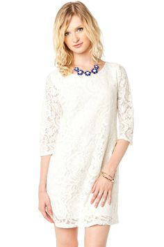 ShopSosie Style : Lace Serenade Shift Dress in Ivory