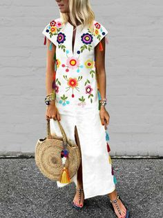 6854bda1d4 Online Shopping JustFashionNow Plus Size V neck Women Summer Dress A-line  Daily Dress Raglan Sleeve Vintage Embroidered Floral Dress