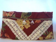 Red Floral and Lace Clutch with Front Zipper Closure. $30.00, via Etsy.